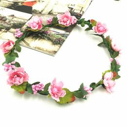 2019 corone di fiori 11 Stili Bohemian Terylene Flower Wreath Ghirlanda Crown Festival Wedding Bridal Bridesmaid Floral Fascia Copricapo Accessori per capelli corone di fiori economici