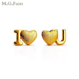 Wholesale I Earrings - MGFam (426E) I LOVE YOU Stud Earrings for Women Fashion Jewelry Sweet Heart 24k Pure Gold Plated Made by Environmentail Copper Hot Buy