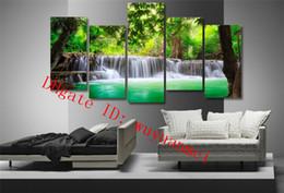 2019 decoração de arte tropical Cachoeira Tropical Verde, 4 Peças Home Decor HD Impresso Pintura Moderna Da Arte na Lona (Sem Moldura / Emoldurado) desconto decoração de arte tropical