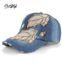 Rhinestones Jean Leisure CAP woman High Quality Cotton snapback Baseball Cap  Vintage Female Casual Leaf Denim hat b138 a3e3f6f6f0a3