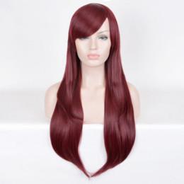 красно-красная краска для волос Скидка Горячие женщины волосы темно-красный окрашенные парик парики Вино красное тело волнистые бордовый J1