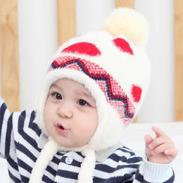 Wholesale Knitting Earflap Hat - Baby Hat Winter Boy Girls Cap Artificial Fur Ball Baby Boy Hats Infant Earflap Caps Wool Knitted Children's Hats Caps For Kids