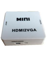 Conector mini vga online-Mejor Mini 1080P HDMI a VGA Adaptador HDMI2VGA Convertidor Conector con Audio para PC Laptop a HDTV Proyector