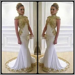 Wholesale hot photos nude - Fashion High Neck Evening Dresses Sweep Train Capped Sleeves Dubai Celebrity Mermaid Party Gowns Hot Prom Dresses