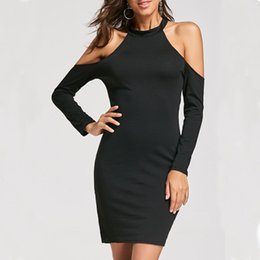 Wholesale Women Tights Winter Wear - Spring and Summer 2018 Women Sexy Midi Bodycon Backless Casual Dress Long Sleeve Club Wear Elegant Solid Color Halter Strapless Pencil Tight