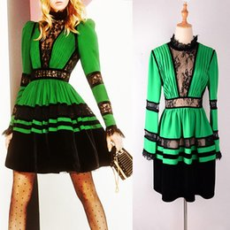 HIGH QUALITY Designer Runway Green Patchwork Black Lace Dresses Women Long  Sleeve Mini Dress Office Lady Work Business Plus Size XXXL 0a8e35efef54