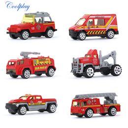 Wholesale engine machine - 6 Pcs set 1:64 Mini Diecasts Alloy Model Car Red Color Fire Engine Boy Toy Car Hot Wheels Cars Machines Kids Toys for Children