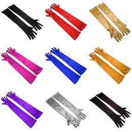 5 çift / grup Çok Saf Renk Akşam Elastik Saten Kollu Dirsek Spandex Eldiven Kadın Eldiven Toptan Uzun Yaklaşık 53 cm nereden