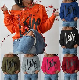 Wholesale One Off Shoulder Tops - Women Love Letters Long Sleeve Blouse valentine day Autumn One Shoulder Off Loose Tops Casual Outwear Casual Tops T Shirt KKA3929