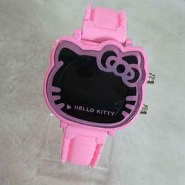 Новые горячие продажи дешевые детские часы мода девушки милый мультфильм часы Hello Kitty часы женщины дети кварцевые часы cheap cheap girls watches от Поставщики недорогие женские часы