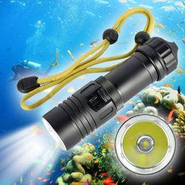 Luces de pesca submarina portátil online-2000LM CREE XM-L2 LED linterna de buceo impermeable Submarino portátil 100 m Buceo Mini luz de flash antorcha de la lámpara para la pesca bicicleta coche