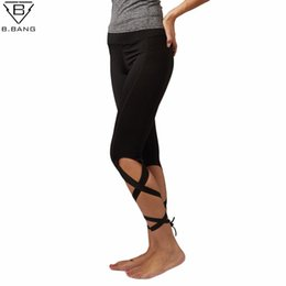 Wholesale White Bandage Tights - B.BANG Women Elastic Fitness Leggings Yoga Pants Quick Drying Women Running Sports Tights for Female Bandage Ropa Deportiva