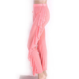 5c6976d470 Chinese Sexy Women Girls Summer New Sexy Solid Ruffle Transparent Mesh  Sheer Pants Flared Beach Trouser