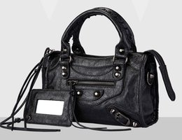 Wholesale Handbag City - Classic Women City Metallic Edge Shoulder Bag 2Way Handbag Goatskin Leather Small 23*17*7cm