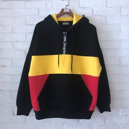 2019SS NEW Best Quality Palm Angels Middle half zipper Black yellow red  Splice men Pullover Hoodies Hip hop Fashion Sweatshirts 5f9c7b1c86e3