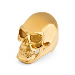 Cool Skull Head Skeleton Band Ring 25mm * 40mm per uomo 316L Stainless Steel Ring Punk Style Nero di alta qualità Silver Gold 3 colori da