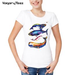peindre les hommes t-shirt Promotion Tee-shirts femme Tops femme Tees Nouvel été Fitness confortable O - Cou Tshirt Femme Homme Manches Courtes Vivid Ocean Whales Paint T Shirt Homme