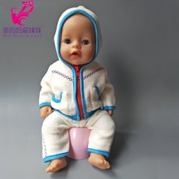 Wholesale Western Dresses For Girls - 43cm Zapf Baby Born doll Blue winter coat clothes pants for 18 inch dolls outwear baby girl Christmas gift