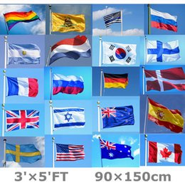 Wholesale fly banners - 3*5ft 90*150cm Rainbow Flags 29 Design National Flag For World Stripe Polyester Flying Flag Banners Decoration Souvenirs AAA566