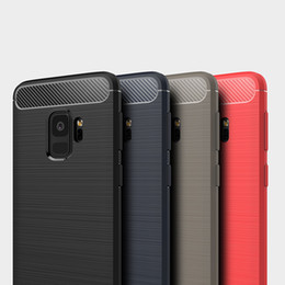 Wholesale Iphone 5s Case Slim Armor - Carbon Fiber Case Rugged Armor Hybrid Shockproof Slim Soft TPU Brushed Back Hard Cover For iPhone X 8 7 Plus 6 6S 5S 5 Samsung Galaxy S9 S8