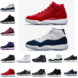 Wholesale gym rubber bands - New 11 Prom Night Men Basketball Shoes blackout Easter Gym Red Midnight Navy PRM Heiress Barons Closing Concord Bred Ceremony sport sneakers