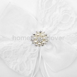 Wholesale White Guest Books - Wholesale- Wedding Ceremony White Guest Book Pen Set Lace Bow Diamante Pearl Decorating