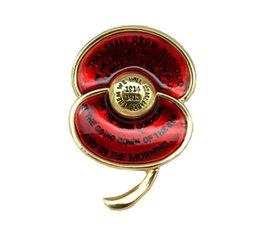 """Wholesale Red Poppy Brooch - Ode of Remembrance Red Enamel Poppy Brooch First World War Centenary Badge Engraved with Poem """"For the Fallen"""""""