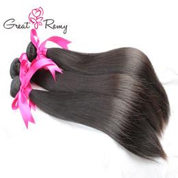 3pcs Greatremy® / lot NÃO PROCESSADOS Virgin Braziilan Cabelo Weave Extensões Cabelo Liso 8A peruana Malásia cabelo indiano Pacotes Vendidos de