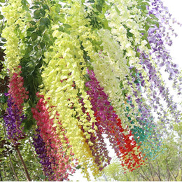 Wholesale wisteria wedding decorations - Artificial Ivy Flowers Hydrangea Wedding Decoration Silk Plastic Wisteria Vine Rattan for Home Party Shopping Mall 43 30 Inch Fake Flower