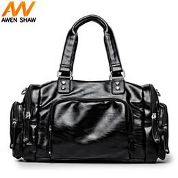 кожаные сумки боковые карманы Скидка Сплошной черный кожаный человек сумка с передним карманом боковой карман мода мужчины дорожная сумка для короткого путешествия повседневная мужской путешествия вещевой