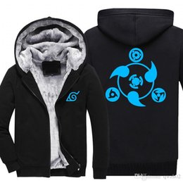 Wholesale Akatsuki Clothes - New Anime NARUTO Akatsuki Clothing Thicken Jacket Cosplay Sweatshirts Hoodie Luminous USA Size fast ship arrive