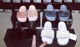 Wholesale rihanna sandals - 2018hot With Shoes Original Boxes Leadcat Fenty Rihanna Shoes Women Slippers Indoor Sandals Girls Fashion Scuffs White Grey Pink Black Slide
