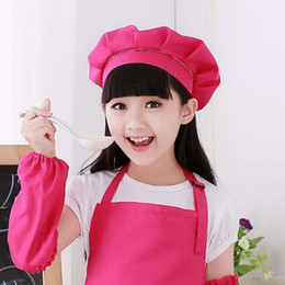 Wholesale Kitchen Hats - Cute Kids Children Kitchen Baking Craft Hat Candy Color Chef Cotton Cap Gift Accessories Free Shipping