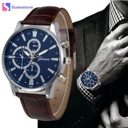 Wholesale Geneva Classic Watch - Retro Classic Men's Watch Clock Leather Band Analog Quartz Wrist Watch Reloj Hombre Simple Style Geneva Sport Watches Relogio