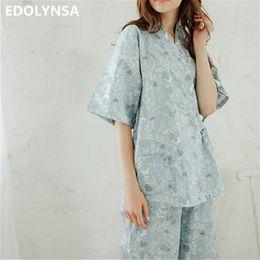 982418b1006 Japanese Style Pajama Set Two 2 Pieces Sleepwear Women 2018 Pyjimas Sweet  Long Sleeve Pocket Belted Kimono Half Length Pant T226