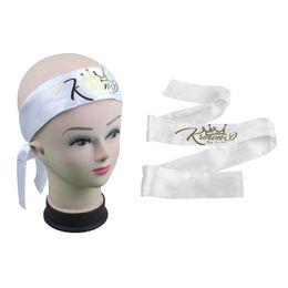 Laço de seda do rosa quente on-line-Nome do logotipo da marca feita sob encomenda preto / branco / rosa quente cabelo Virgem wraps faixa de cetim de seda Lenço de cabelo, fitas de cabelo, laço de cabelo, envoltórios de cabeça
