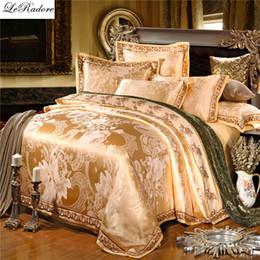 Wholesale White Lace King Sheet Set - Satin Luxury Silk Bedding Sets 4 6PCS Jacquard Cotton Bed Linens Bed Sheet Duvet Cover Bedding Set King Size