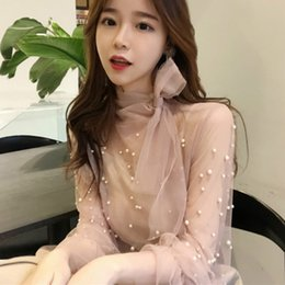 Wholesale Sexy Pearl Blouse - 2018 Spring Long Flare Sleeve Bow Tie Mesh Blouses Women Transparent Sexy Mesh Shirts Women Bear Work Pearl Mesh Tops Bow Tops
