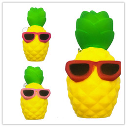 Wholesale Squishies Free Shipping - Pineapple Squishy Sunglasses Decompression Jumbo Scented Simulation Squishies Decoration Kids Toy Glasses Squeeze Gift Free Shipping