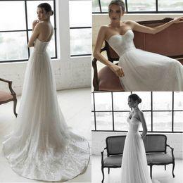 vestido de novia escote bling Rebajas Julie Vino 2019 Vestido de novia Bling Bling Sweetheart Neckline Robe De Mariee Simple A Line Beach Wedding Gowns