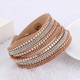 2019 braille en cuir Bracelet En Cristal De Mode Cristal Wrap Bracelets Femmes Bracelets Strass Bracelet En Cuir Cristal Charme Braclets Cadeau De Noël braille en cuir pas cher