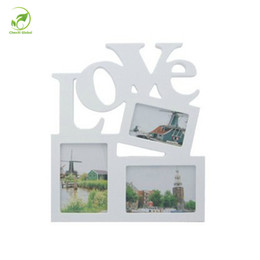 Wholesale Love Picture Frames - Mini Love Wooden Family Frame Photo Wood Picture Frame Rahmen White Base Art DIY Wooden Family Photos Album Living Room