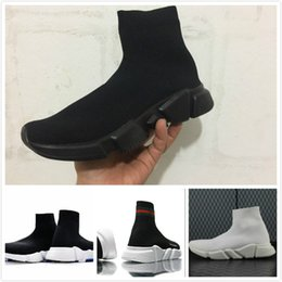 Wholesale Black Knit Boots - 2018 Speed Trainer Boots Socks Stretch-Knit High Top Trainer Shoes Cheap Sneaker Black White Woman Man Couples Shoes Casual Boots EUR 36-45