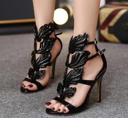 Wholesale strappy black dresses - European Golden Metal Wings Leaf Strappy Dress Sandal Silver Gold pink Gladiator High Heels sandals Women Metallic Winged Sandals