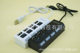 Wholesale Slim Port Usb Hub - 200pcs,Slim 4 Ports USB 2.0 Hub LED USB Hub With Power on off Switch For Laptop PC Computer Wholesales Black White