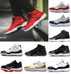 Wholesale Cheap Black Athletic Shoes - 2018 cheap 11 Gym Red Chicago Midnight Navy WIN LIKE 82 UNC Space 45 Mens Basketball Shoes 11s Athletic Sport Sneakers US 5.5-13