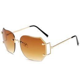 Wholesale Vintage Glass Frog - Fashion Star Style Fashion Sunglasses Gradient Women's Rimless Sunglasses Vintage Big Frame Frog Sun glasses Free Shipping