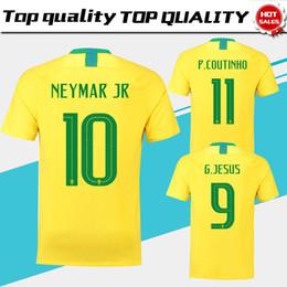 Wholesale black white men - 2018 world cup Brazil home Soccer Jersey Brasil#10 NEYMAR JR soccer shirt #11 COUTINHO #9 G.JESUS Brazil home yellow Football uniforms sales