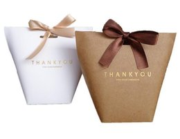 """Wholesale paper box printing - New Event Upscale Black White Bronzing """"Merci"""" Candy Bag French Thank You Wedding Favors Gift Box Package Birthday Party Favor Bags"""