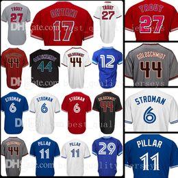 Wholesale Baseball Joe - 17 Shohei Ohtani 27 Mike Trout 44 Paul Goldschmidt Jersey 6 Marcus Stroman 11 Kevin Pilar 12 Roberto Alomar 29 Joe Carter Jerseys Los Angele